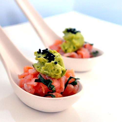 Salmon tartare with avocado cream canap s recipe for Salmon canape ideas