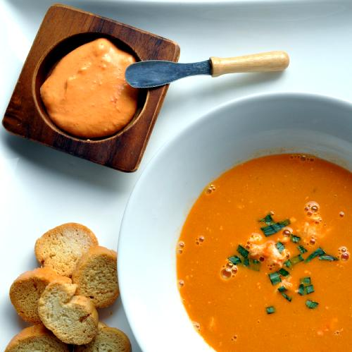 Lobster Bisque with Rouille Sauce and Croutons Recipe - Flavoursome ...